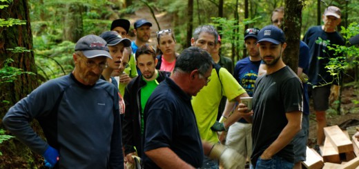 The team gets organized for the last Baden Powell work party (east of Hyannis).
